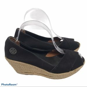 Tory Burch Women's Black Slide On Espadrilles 9